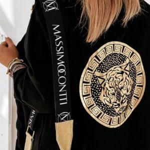 Заказать женскую кофту черного цвета на змейке с принтом на спине (размер 42-56) недорого