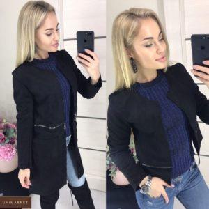 Купить женскую куртку-пальто трансформер из замши размера 42-46 черного цвета онлайн