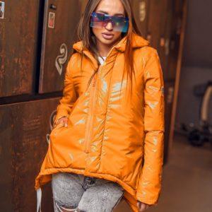 Приобрести оранжевую яркую куртку с лямками (размер 42-60) для женщин на весну и осень дешево