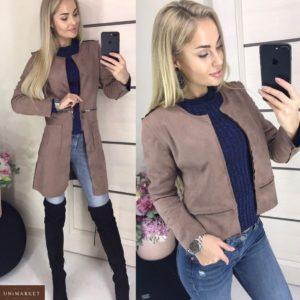 Приобрести мокко женскую куртку-пальто трансформер из замши в Украине