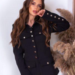 Приобрести женский пиджак на заклепках черного цвета с подкладкой в Украине