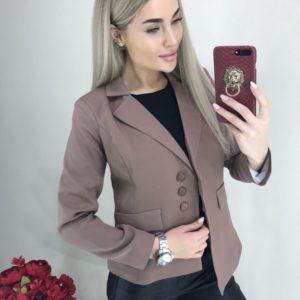 Заказать цвета мокко женский Пиджак на пуговицах с асимметричным низом выгодно