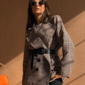 Приобрести коричневый Двубортный пиджак в клетку с поясом из эко кожи для женщин онлайн