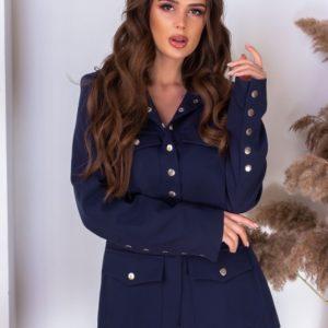 Заказать синего цвета пиджак на заклепках с подкладкой по скидке