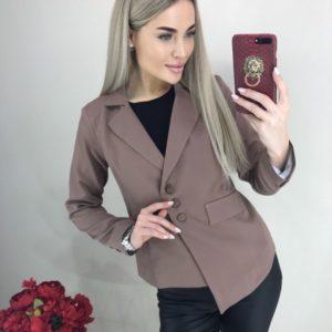 Приобрести женский пиджак цвета мокко на пуговицах с асимметричным низом онлайн