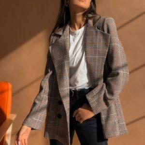 Заказать Двубортный пиджак в клетку с поясом из эко кожи женский коричневый недорого