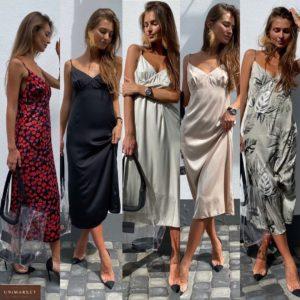 Заказать шелковое женское платье-комбинация длины миди на бретельках красное, беж, оливка дешево