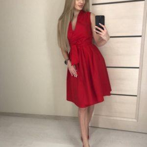 Заказать красное женское летнее платье из хлопка с пышной юбкой по скидке