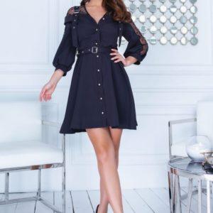 Заказать черного цвета платье-рубашка со вставками из сетки в горошек с ремнем по низким ценам для женщин