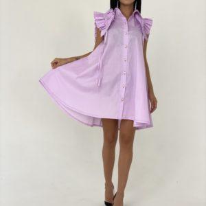 Заказать женское платье-рубашка сиреневого цвета из хлопка с оригинальными рукавами онлайн