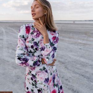 Купить белое женское шелковое платье миди с длинным рукавом и цветочным принтом по скидке