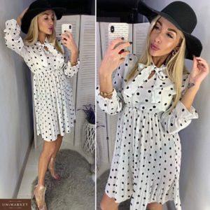 Приобрести белое платье для женщин в горошек с плиссировкой по скидке
