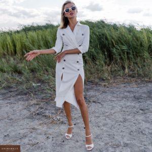 Заказать женское платье миди с пуговицами и разрезами белого цвета дешево