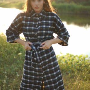 Купити чорне байкову жіноче плаття-сорочка в клітку (розмір 42-52) онлайн