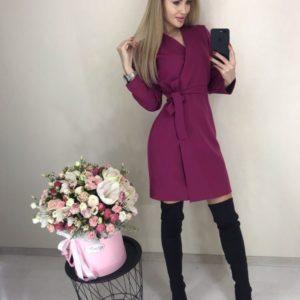 Приобрести фуксия платье на запах с длинным рукавом для женщин онлайн