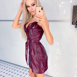 Заказать цвета марсала Платье из эко кожи на змейке с декольте размера 42-46 для женщин выгодно