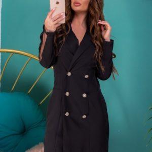 Приобрести черное женское Двубортное удлиненное платье-пиджак с сеткой выгодно