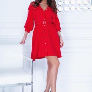 Приобрести женское платье-рубашка со вставками из сетки в горошек с ремнем дешево красного цвета