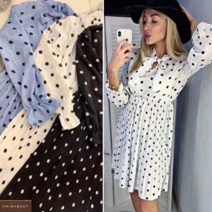 Заказать женское платье в горошек с плиссировкой белого, черного, голубого цветов недорого
