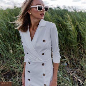 Заказать женское белое платье миди с пуговицами и разрезами онлайн