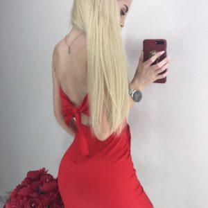 Купить красное Платье мини с открытой спиной на бретельках для женщин недорого