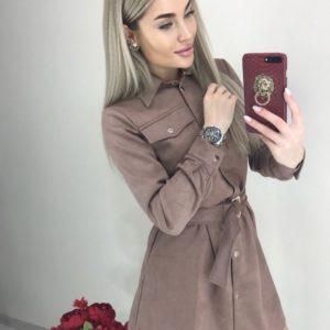 Купити мокко замшеву сукню-сорочку з довгим рукавом для жінок з поясом онлайн