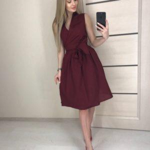 Купить женское летнее платье из хлопка с пышной юбкой цвета марсала выгодно