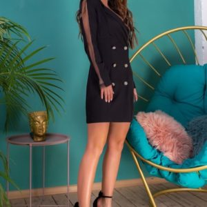 Купить черное двубортное удлиненное платье-пиджак для женщин с сеткой недорого