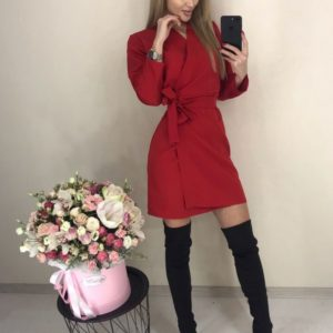 Заказать красного цвета Платье на запах с длинным рукавом для женщин хорошего качества