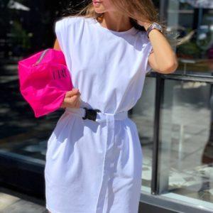 Купить белое платье с подплечниками из трикотажа для женщин онлайн