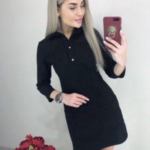 Купить черное платье из замши мини с рукавом 3/4 для женщин недорого