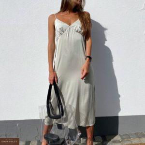 Приобрести оливкового цвета шелковое платье-комбинация миди на бретельках по низким ценам