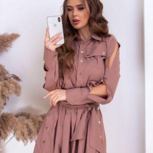 Придбати жіночу мокко сукню міні з заклепками з довгим рукавом онлайн