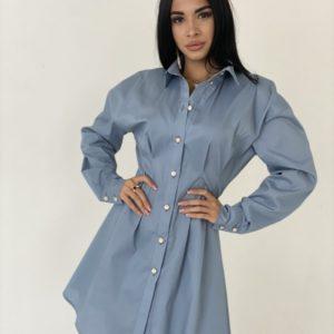 Приобрести голубое женское платье-рубашка из хлопка с длинным рукавом по скидке