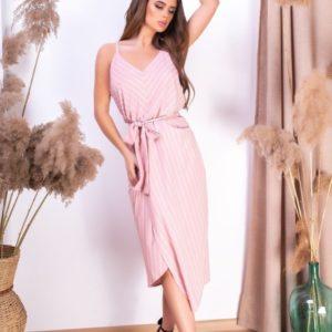 Заказать пудра женское Полосатое платье на бретельках с асимметричным подолом в интернете