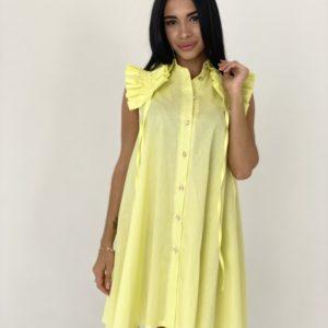 Заказать желтое женское платье-рубашка из хлопка с оригинальными рукавами по скидке
