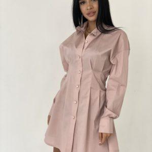 Купить пудра женское платье-рубашка из хлопка с длинным рукавом выгодно
