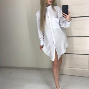 Приобрести белую женскую удлиненную рубашку из матового шелка выгодно