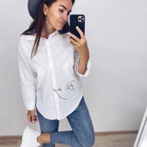Заказать женскую белую рубашку с длинным рукавом с надписью в Украине