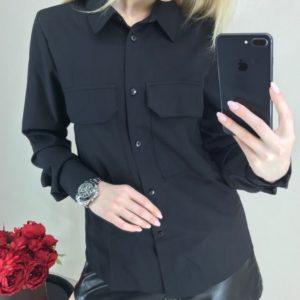 Купити чорну сорочку з довгим рукавом на ґудзиках для жінок вигідно