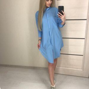 Заказать голубого цвета удлиненную рубашку из матового шелка для женщин дешево