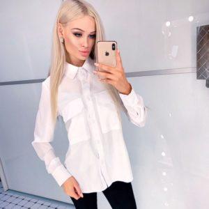Купити білого кольору сорочку з довгим рукавом на ґудзиках жіночу вигідно
