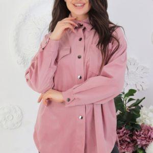 Купить женскую вельветовую рубашку на кнопках с длинным рукавом (размер 42-52) розового цвета недорого