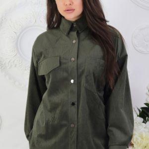 Купить цвета бутылка вельветовую рубашку на кнопках с длинным рукавом (размер 42-52) женскую в Украине недорого