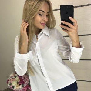 Купити білу сорочку на ґудзиках з запахом на спині для жінок по знижці