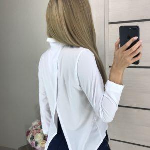 Придбати білу сорочку на ґудзиках з запахом на спині жіночу онлайн