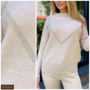 Купить цвета мокко женский свитер с кашемиром и декором из камней онлайн