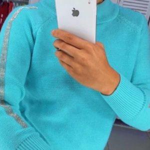 Купить голубого цвета Свитер с рукавом реглан с камушками для женщин онлайн