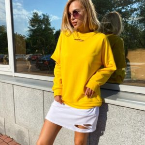 Заказать недорогоплатье-свитшот с прорезями желтое