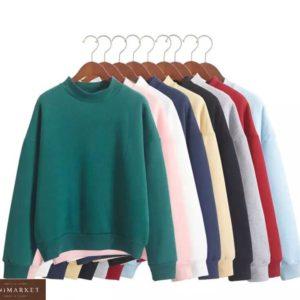 Заказать зеленый, синий, белый, черный Однотонный свитшот из трехнитки (размер 42-52) женский выгодно